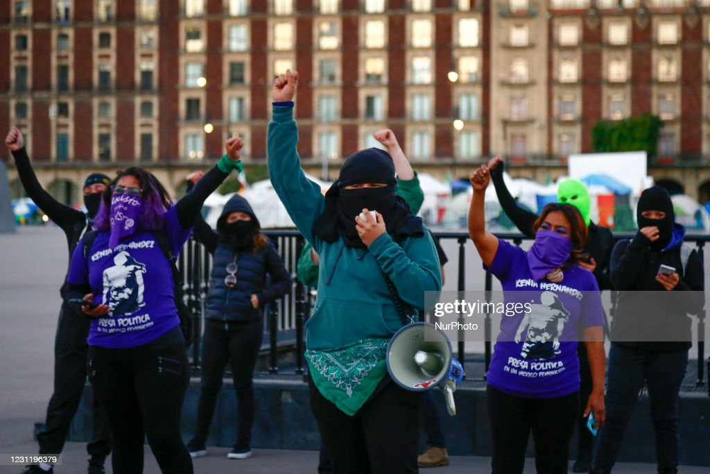 Feminist Collective Members Protest Agaisnt Candidate Felix Salgado Macedonio In Mexico City : News Photo