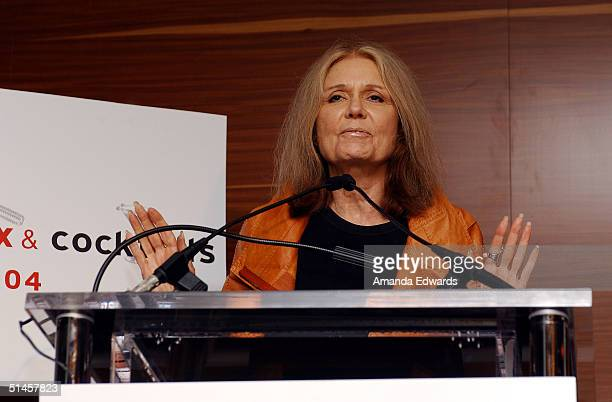 Feminist Gloria Steinem gives a speech following the second Presidential debate at the Planned Parenthood Advocacy Event Policitics Sex Cocktails on...