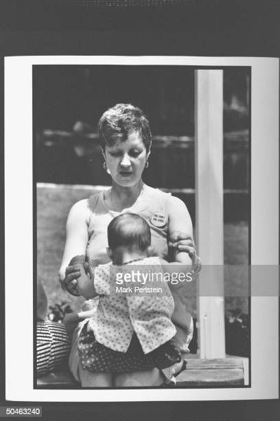 Feminist Norma McCorvey aka Jane Roe the woman behind Roe V Wade case wearing a button that says ProFamily ProChoice/The Religious Coalition for...