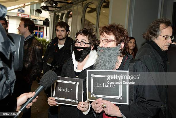 Feminist protestors called 'La Barbe' campaign for more female winners during the Prix Goncourt literary prize winner announcement on November 4 2013...