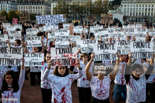 Feminist rally to denounce the 128 feminicides since the beginning of 2019 and the government's inaction on violence against women, in Lyon, France,...