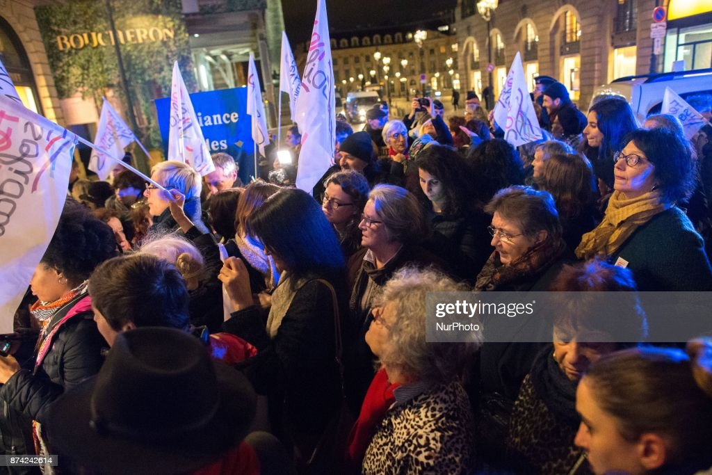 Feminists take part in a demonstration in front of the French Justice Ministry, in Paris, on November 14, 2017 called by different feminists associations to protest against the acquittal for rape of a man who had sex with an 11 year old. Two court decisions involving 11-year-old girls have recently highlighted the shortcomings of French law that the government intends to tackle in 2018.