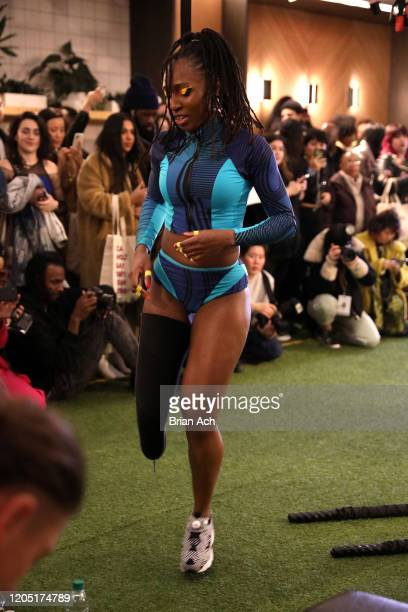 Femita Ayanbeku poses for the Chromat presentation during New York Fashion Week at Rise by We on February 09 2020 in New York City