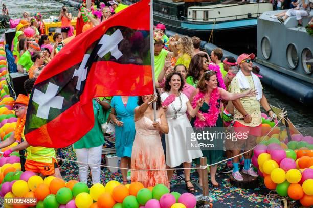 Femke Halsema Mayor of Amsterdam during Amsterdam Gay Pride on August 4 2018 in Amsterdam Netherlands Pride Amsterdam 2018 celebrates the community...