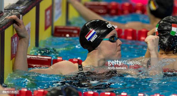 Femke Heemskerk of the Netherlands celebrates Gold and a new World Record during the Mixed 4x50m Freestyle Relay Final on December 16 2017 in...