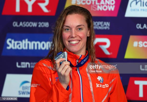 Femke Heemskerk of the Netherlands poses with her Silver medal after finishing second in the Women's 100m Freestyle final during the swimming on Day...