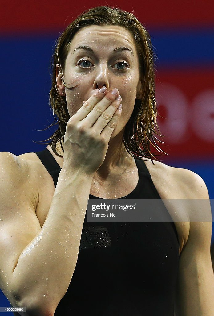 Femke Heemskerk of the Netherlands reacts after winning the Women's 4x100m Freestyle Final during day three of the 12th FINA World Swimming Championships (25m) at the Hamad Aquatic on December 5, 2014 in Doha, Qatar.