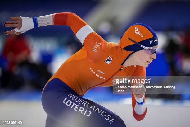 Femke Kok of Netherlands competes in the Ladies 1000m during day 3 of the ISU World Cup Speed Skating at Thialf on January 24, 2021 in Heerenveen,...