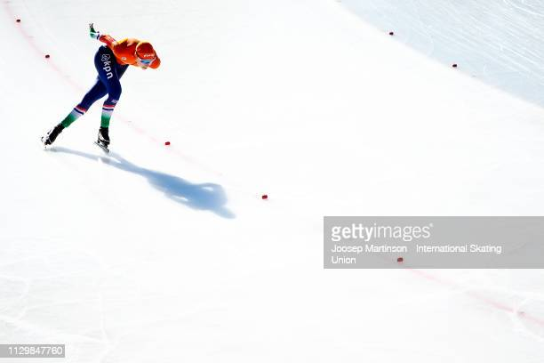 Femke Kok of Netherlands competes in the Ladies 1500m during day 1 of the ISU World Junior Speed Skating Championships Baselga Di Pine at Ice Rink...