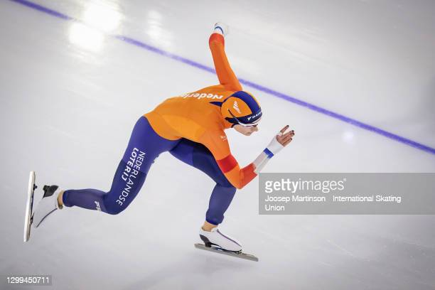 Femke Kok of Netherlands competes in the Ladies 500m during day 2 of the ISU World Cup Speed Skating at Thialf on January 30, 2021 in Heerenveen,...