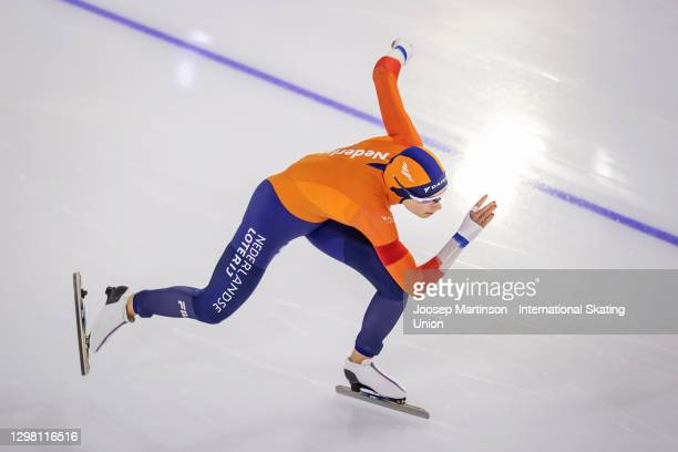 Femke Kok of Netherlands competes in the Ladies 500m during day 3 of the ISU World Cup Speed Skating at Thialf on January 24, 2021 in Heerenveen,...