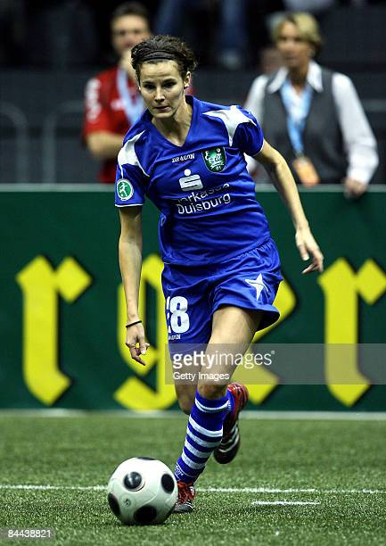 Femke Maes of FCR 2001 Duisburg in action during the quarter final of the THome DFB Indoor Cup at the Boerdelandhalle on January 24 2009 in Magdeburg...