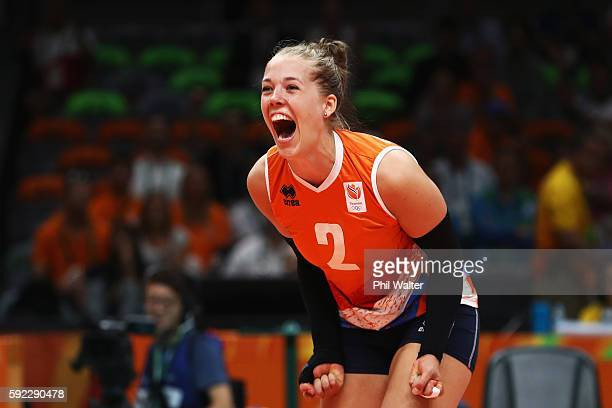 Femke Stoltenborg of Netherlands celebrates winning the second set during the Women's Bronze Medal Match between Netherlands and the United States on...