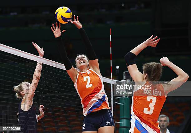 Femke Stoltenborg of Netherlands sets up the ball during the Women's Bronze Medal Match between Netherlands and the United States on Day 15 of the...