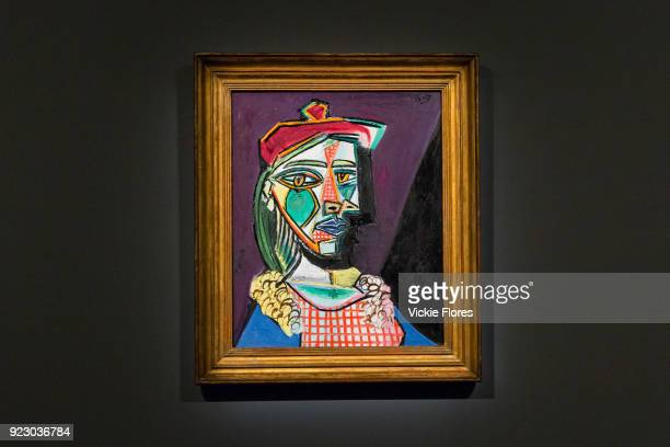 Femme Au Beret Et a La Robe Quadrillee MarieTherese Walter by Pablo Picasso is displayed on February 22nd 2018 at the preview for Sotheby's upcoming...