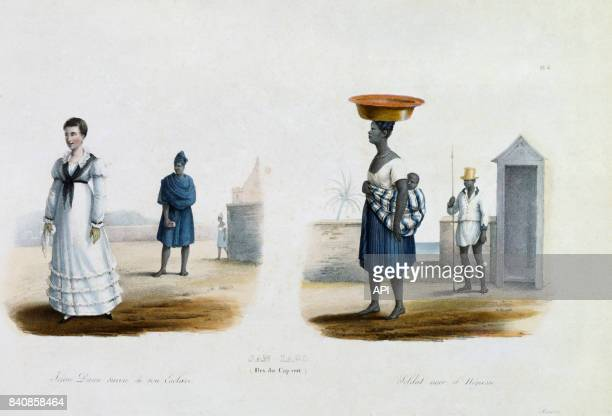 Femme colon portugaise avec ses esclaves au CapVert