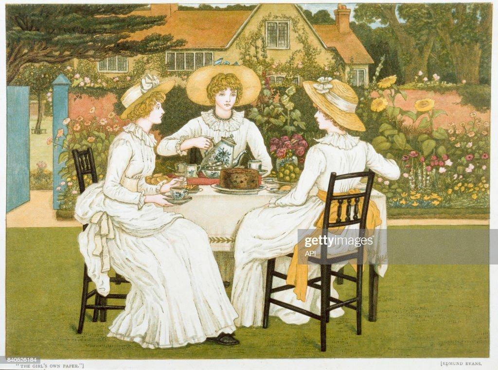 Femmes prenant le thé dans un jardin au XIXè siècle. News Photo ...