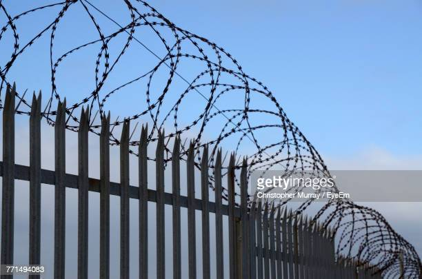 fence against blue sky - barbed wire stock pictures, royalty-free photos & images