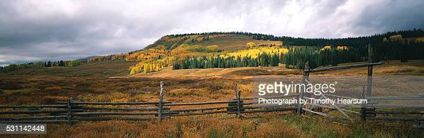 fence and fall color - timothy hearsum stock pictures, royalty-free photos & images