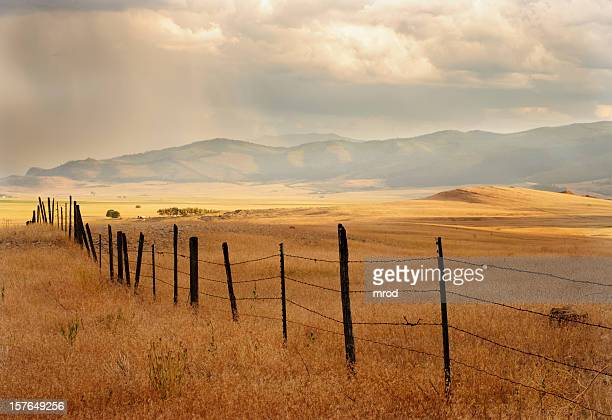 fence and farmland - moody sky stock pictures, royalty-free photos & images