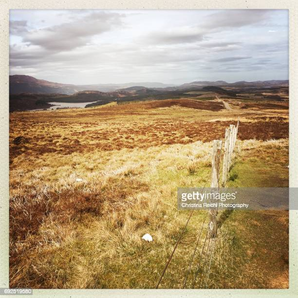 fence in landscape, scotland, highlands, uk - vereinigtes königreich stock pictures, royalty-free photos & images