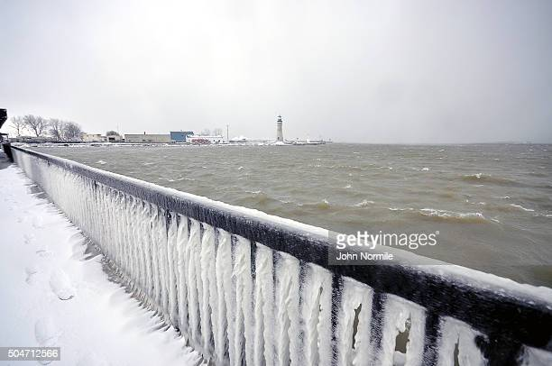 A fence is covered in ice along the shore of Lake Erie in Buffalo New York January 12 2016 The Buffalo and Western New York area is bracing for the...