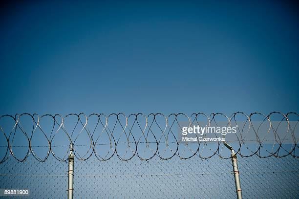 Fence is seen at The California Institution for Men prison on August 19, 2009 in Chino, California. After touring the prison where a riot took place...