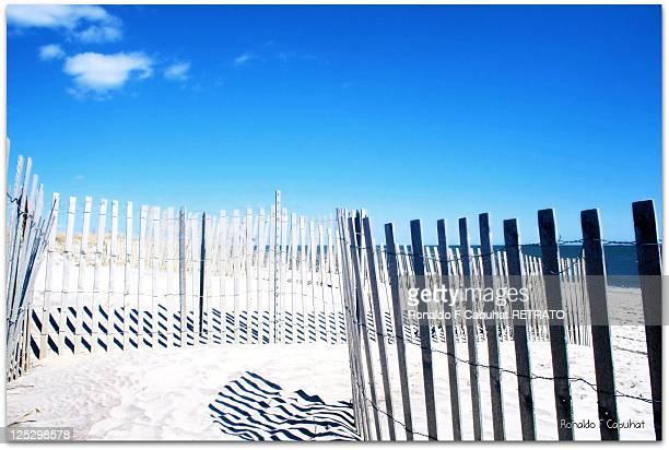 Fence near seashore.