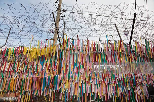 fence of the military demarcation line, south korea - korean demilitarized zone stock pictures, royalty-free photos & images