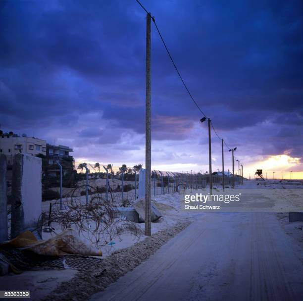 A fence protecting the settlement of Shirat Hayam is seen November 22 2004 in Gush Katif Gaza Strip Shirat Hayam was founded in 2000 on the very same...