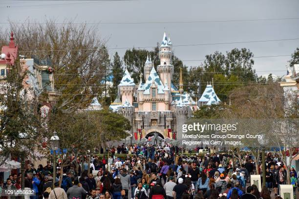 A fence surrounds Sleeping Beauty Castle during the first day of a $300 extensive castle refurbishment at Disneyland in Anaheim CA on Monday Jan 7...