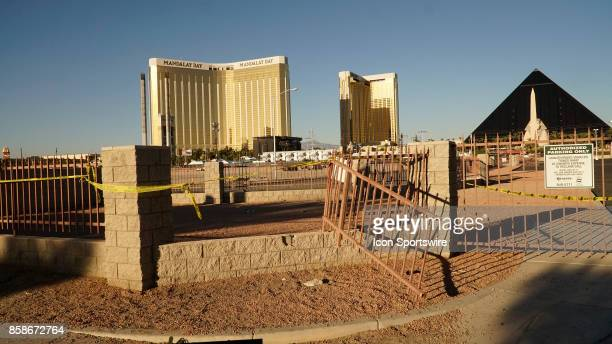 A fence that was broken by people escaping the gunfire from the Route 91 Harvest Festival mass shooting on October 6 in Vas Vegas NV The site was the...