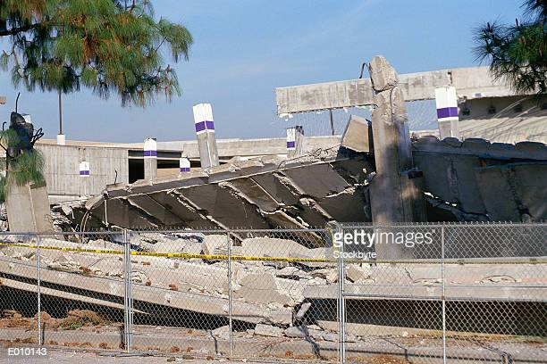 Fenced-off collapsed overpass