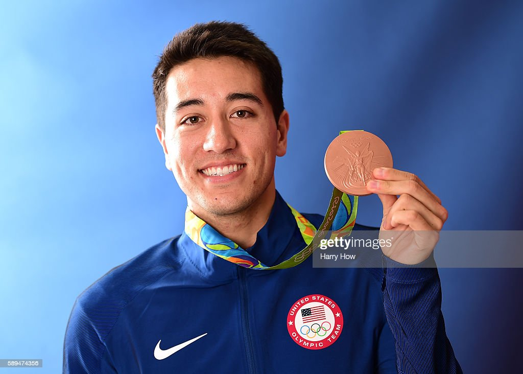 Fencer, Gerek Meinhardt of the United States poses for a photo with his bronze medal on the Today show set on Copacabana Beach on August 13, 2016 in Rio de Janeiro, Brazil.