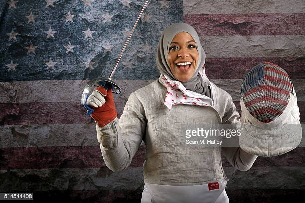 Fencer Ibtihaj Muhammad poses for a portrait at the 2016 Team USA Media Summit at The Beverly Hilton Hotel on March 9 2016 in Beverly Hills California