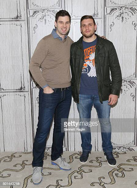 Fencer Tim Morehouse and comedian Chris Distefano attends AOL Build at AOL Studios In New York on December 15 2015 in New York City