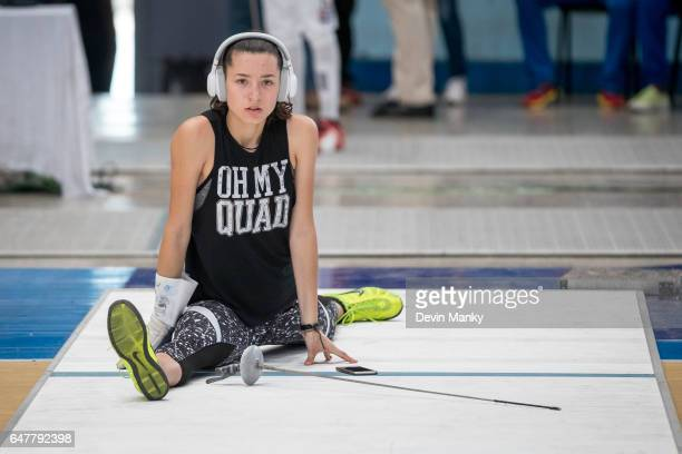 A fencer warms up before day 2 action at the Cadet and Junior PanAmerican Fencing Championships on March 3 2017 at the Coliseo de la Ciudad Deportiva...