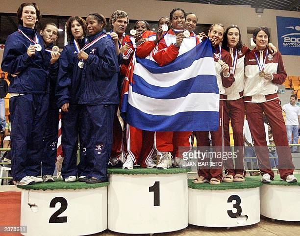 US fencers Eim Stephanie Kelly Hurley Erinn Smart and Elisabeth Spillman Cuban fencers Eimey Gomez Misleydis Ona Zuleydis Ortiz and Arianne Ribot and...