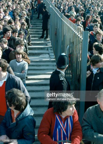 Fences and segregation for the visiting Portsmouth fans at Highbury before the Football League Division One match betwen Arsenal and Portsmouth 29th...