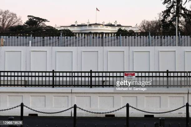 Fences block off the White House South Lawn on January 16, 2021 in Washington, DC. After last week's riots at the U.S. Capitol Building, the FBI has...