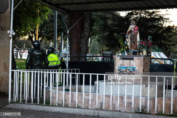 Fences cover the holy virgen at Villa Luz CAI police station were police officers tortured Javier Ordonez on September 9 later the same day several...