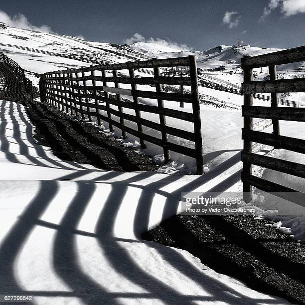 Fences on the ski slopes of Sierra Nevada in Granada, Andalusia, Spain