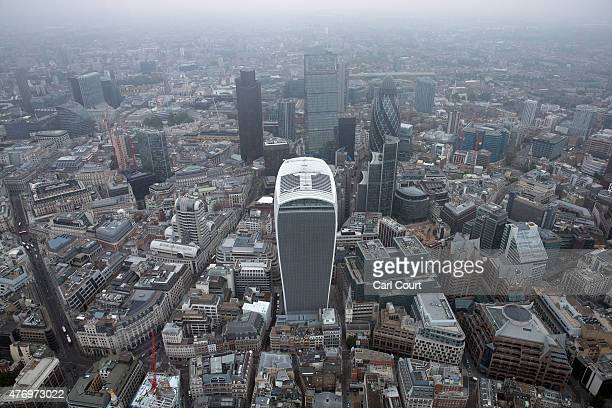 Fenchurch Street commonly known as the Walkie Talky building is pictured from a helicopter on June 13 2015 in London England