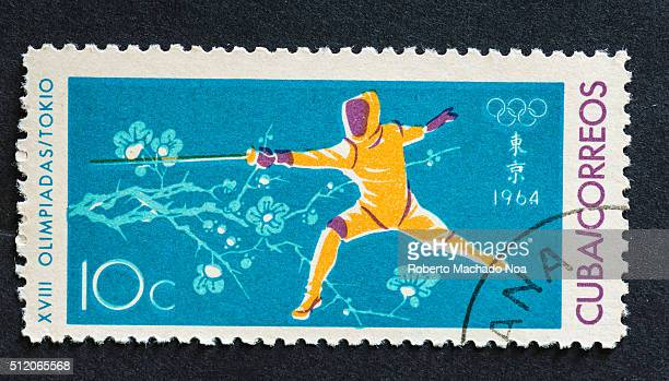 Fencing at the 1964 Olympic Games held at Tokyo A series of mailing stamps used by the Cuban public depicting sporting events held at the 1964...
