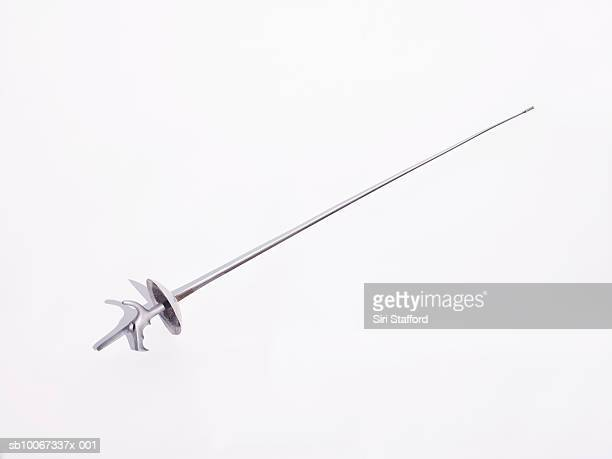 Fencing foil with french grip on white background