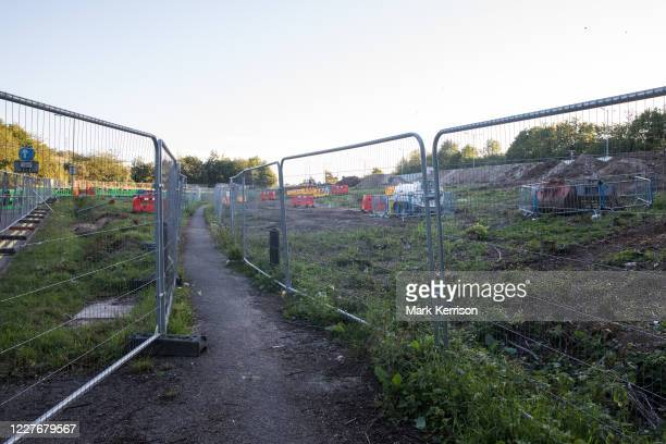 Fencing is positioned around land cleared of trees and undergrowth at the HS2 Buckinghamshire Junctions Laydown Area on 17th July 2020 in Amersham,...