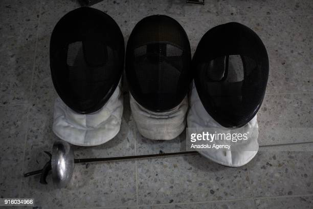 Fencing mask are seen in Bogota in Bogota Colombia on February 8 2018 One of the first sports present in the Paralympic program was the 'Wheelchair...
