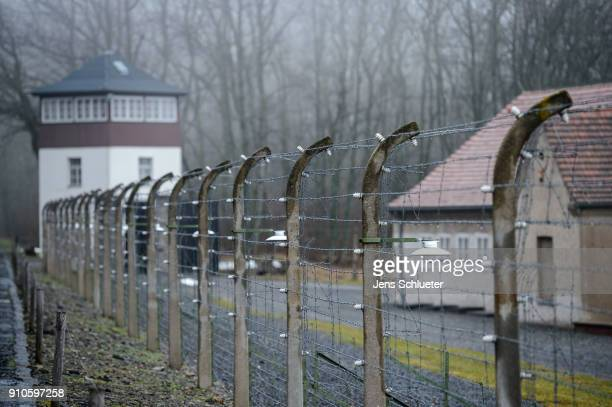 Fencing surrounds Buchenwald concentration camp on January 26 2018 near Weimar Germany International Holocaust Remembrance Day will commence tomorrow...
