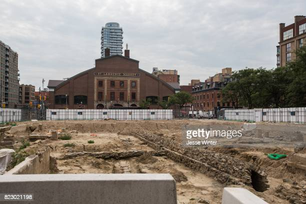 TORONTO ON JULY 25 Fencing Surrounds The Site Of Old North St Lawrence Market Building