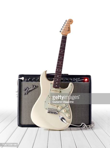 Fender American Original 60's Stratocaster electric guitar with an Olympic White finish and a Fender Deluxe Reverb combo amplifier taken on February...